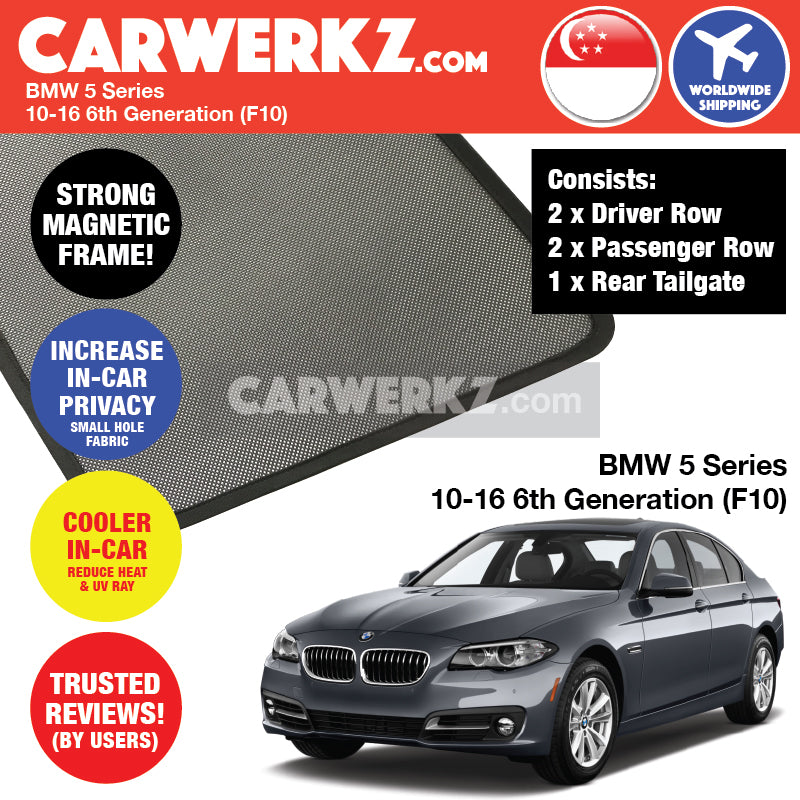 BMW 5 series 2010-2016 6th Generation (F10) Customised Car Window Magnetic Sunshades 4 Pieces + 1 Piece FULL SET - CarWerkz