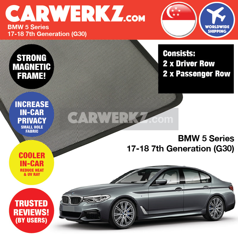BMW 5 Series 2017-2019 7th Generation (G30) Customised Luxury German Sedan Car Window Magnetic Sunshades 4 Pieces - CarWerkz