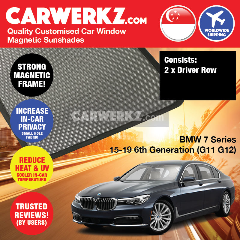 BMW 7 series 2015-2020 6th Generation (G11 G12) Customised Luxury Germany Sedan Car Window Magnetic Sunshades - CarWerkz