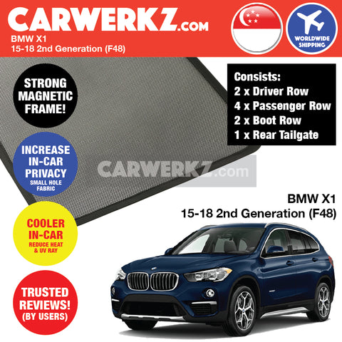 BMW X1 SUV Sport Utility Vehicles Car Accessories 2015 2016 2017 2018 2nd Generation (F48) Customised Car Window Magnetic Sunshades 8 Pieces + Rear Tailgate 1 Piece