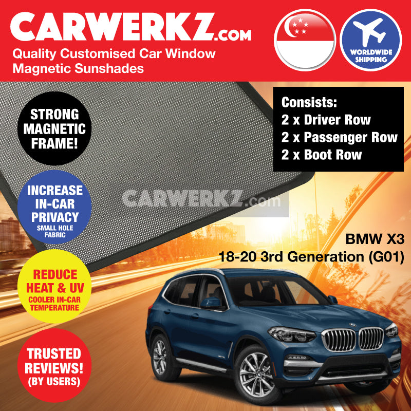 BMW X3 2018-2020 3rd Generation (G01) Customised Germany Luxury Mid size SUV Window Magnetic Sunshades 6 Pieces - CarWerkz