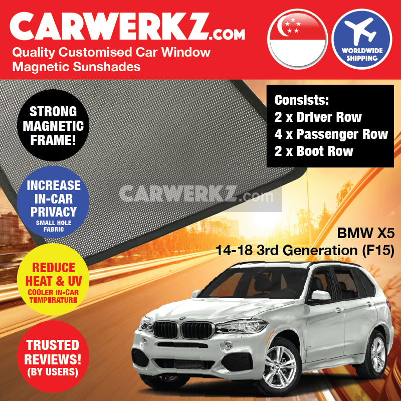 BMW X5 2013-2018 3rd Generation (F15) Germany Luxury Full Size SUV Customised Car Window Magnetic Sunshades - CarWerkz