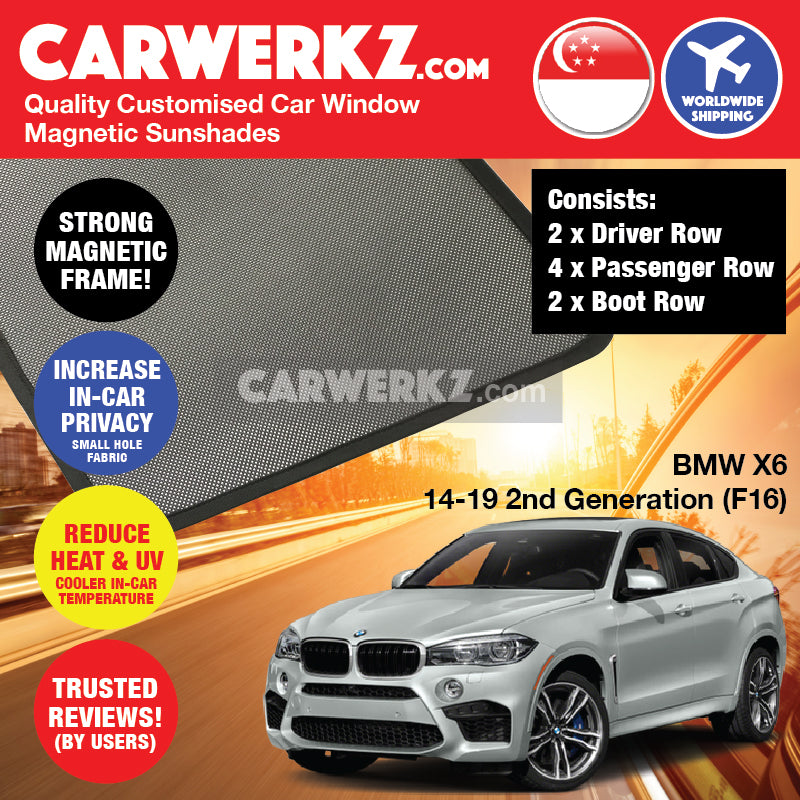 BMW X6 2014-2019 2nd Generation (F16) Germany Luxury SUV Coupe Customised Car Window Magnetic Sunshades - CarWerkz