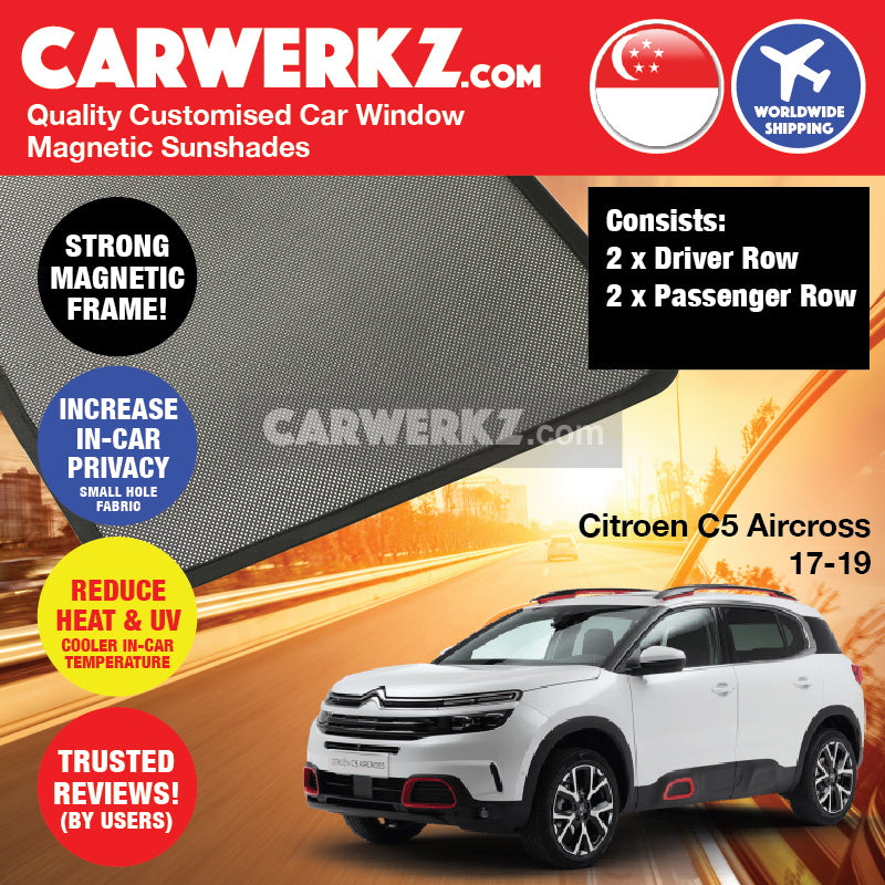 Citroen C5 Aircross 2017-2019 France Compact Crossover SUV Car Customised Magnetic Sunshades 4 Pieces - CarWerkz