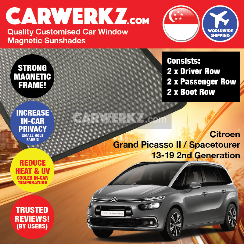 Citroen C4 Grand Picasso II Spacetourer 2013-2020 2nd Generation France Compact MPV Customised Car Window Magnetic Sunshades - CarWerkz
