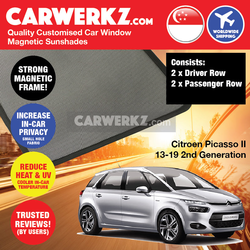 Citroen C4 Picasso II 5 Seaters 2013-2019 2nd Generation France Compact Hatchback Customised Car Window Magnetic Sunshades 4 Pieces - CarWerkz