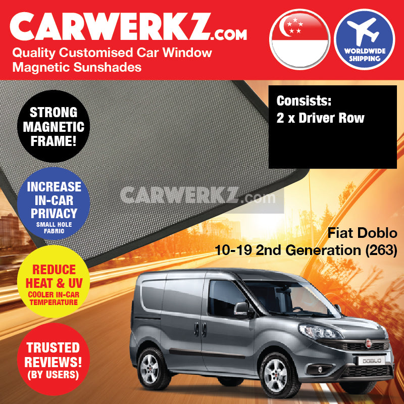 Fiat Doblo 2010-2020 2nd Generation (263) Italy Compact Panel Van Customised Car Window Magnetic Sunshades - CarWerkz