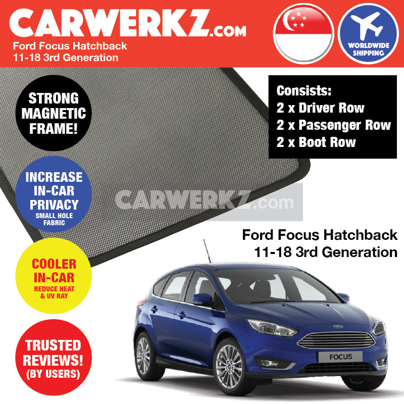 Ford Focus Hatchback Mark 3 2011-2018 3rd Generation America Customised Car Window Magnetic Sunshades - CarWerkz