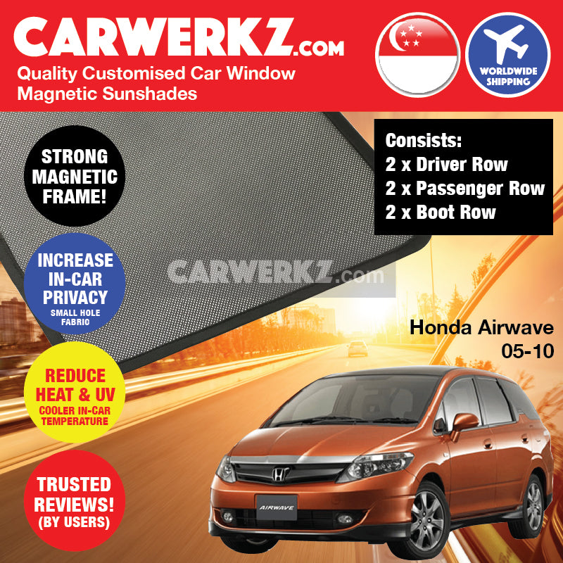 Honda Airwave 2005-2010 Japan Subcompact Size Stationwagon Customised Car Window Magnetic Sunshades 6 Pieces - CarWerkz