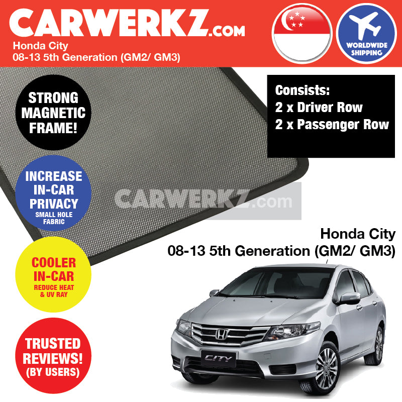 Honda City 2008-2013 5th Generation (GM2/ GM3) Customised Car Window Magnetic Sunshades 4 Pieces - CarWerkz