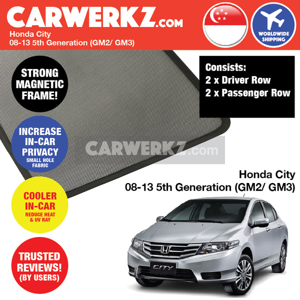 Honda City Sedan 2008 2009 2010 2011 2012 2013 5th Generation (GM2/ GM3) Customised Car Window Magnetic Sunshades