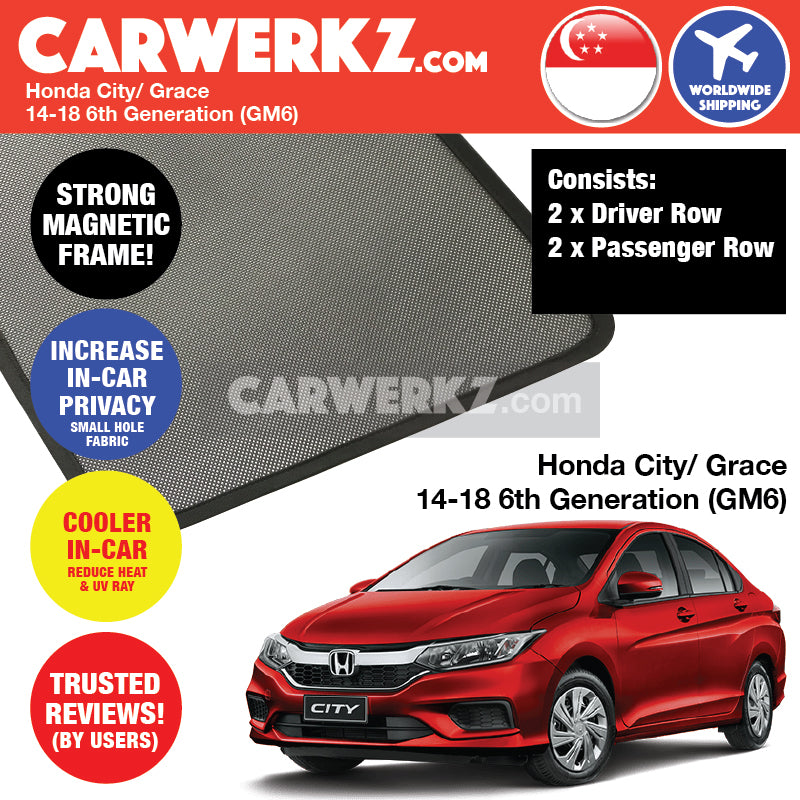 Honda City Grace 2014-2018 6th Generation (GM6) Customised Car Window Magnetic Sunshades 4 Pieces - CarWerkz