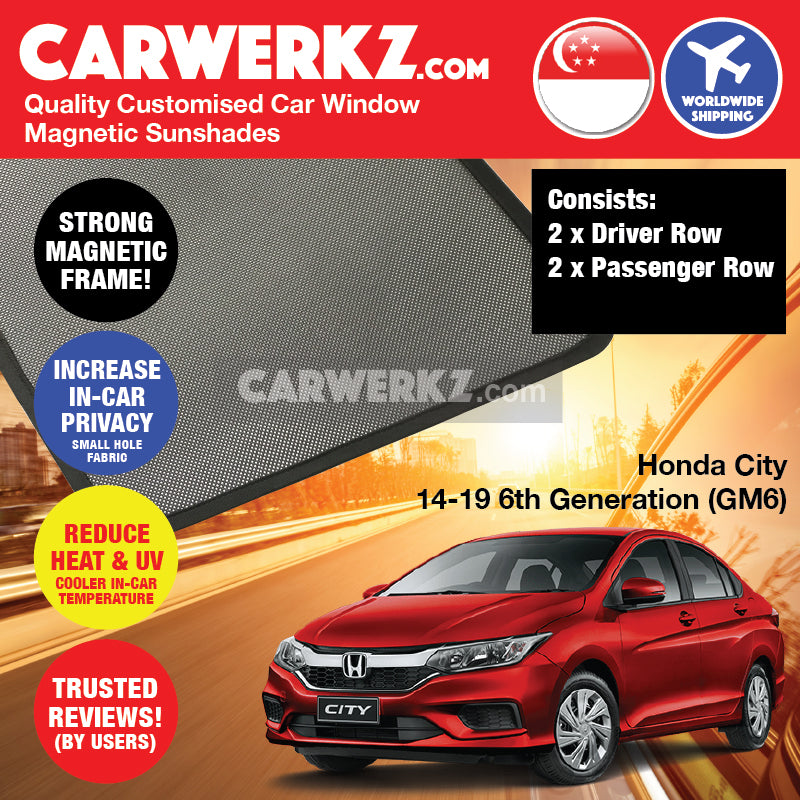 Honda City Grace 2014-2020 6th Generation (GM6) Japan Sedan Customised Car Window Magnetic Sunshades 4 Pieces - CarWerkz