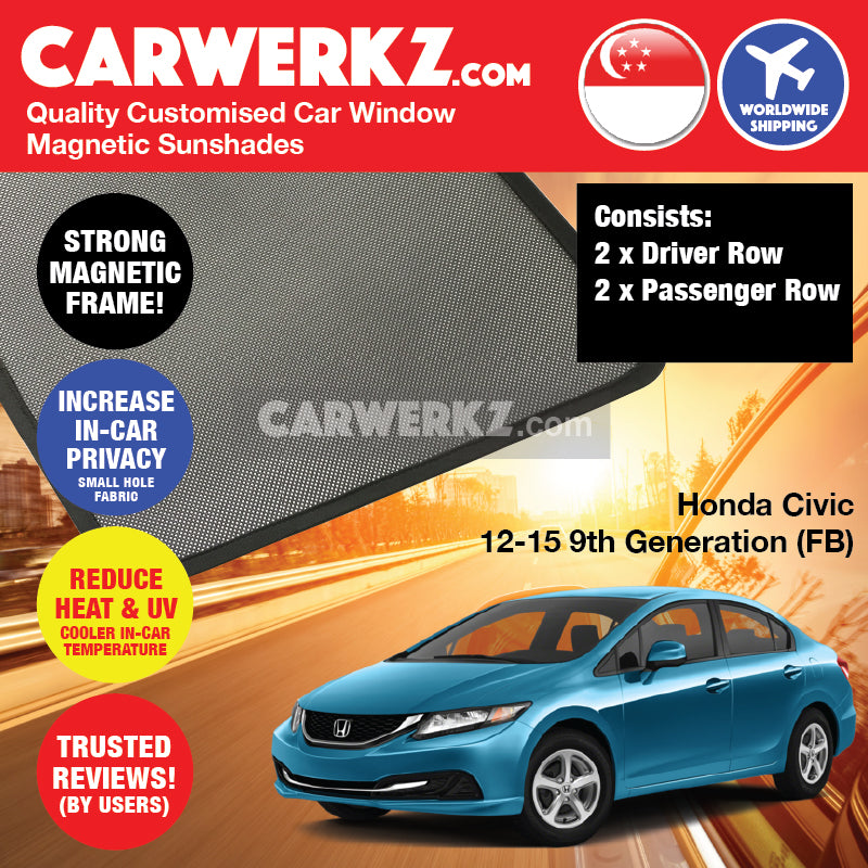 Honda Civic 2012-2015 9th Generation (FB) Japan Sedan Saloon Customised Car Window Magnetic Sunshades 4 Pieces - CarWerkz