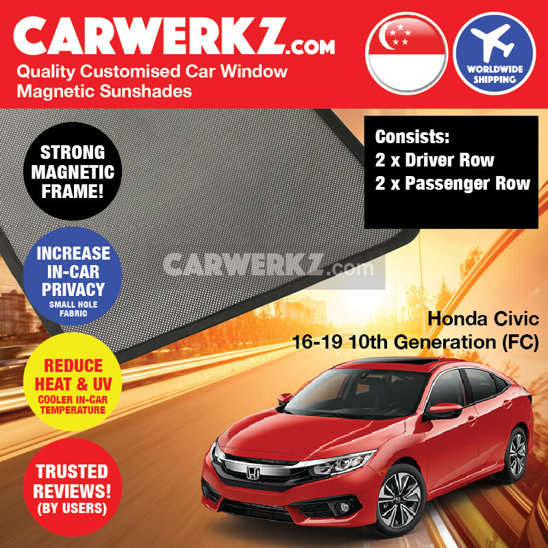 Honda Civic 2016-2019 10th Generation (FC) Japan Sedan Customised Car Window Magnetic Sunshades 4 Pieces - CarWerkz