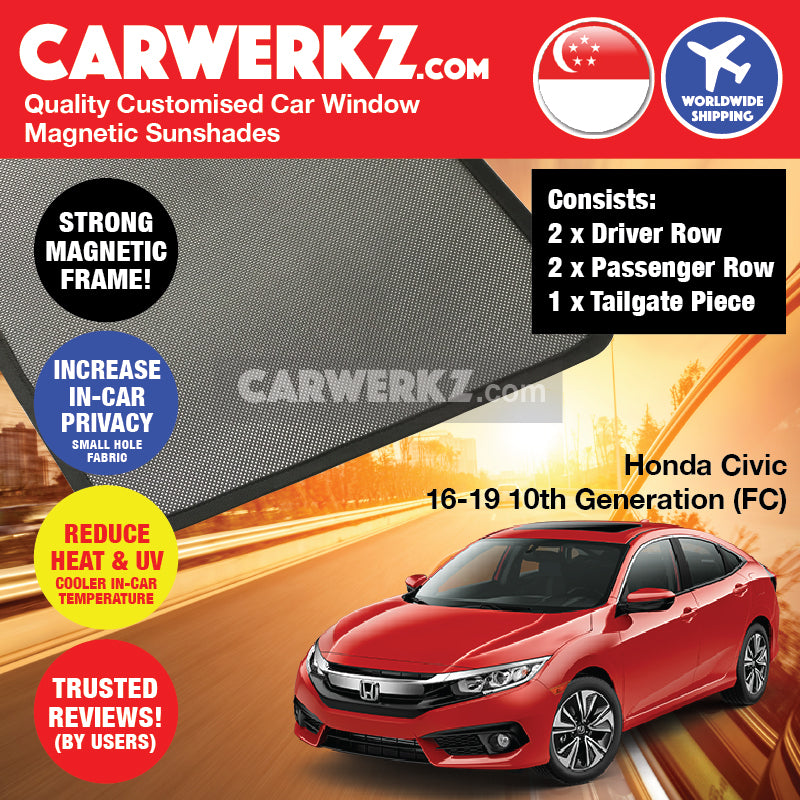 Honda Civic 2016-2019 10th Generation (FC) Japan Sedan Customised Car Window Magnetic Sunshades 4 Pieces + Tailgate 1 Piece FULL SET - CarWerkz