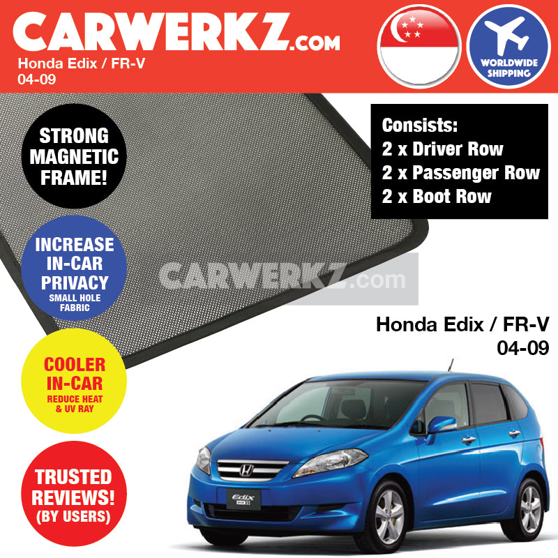 Honda Edix FR-V 2004-2009 Japan 6 Seater Hatchback Customised Car Window Magnetic Sunshades - CarWerkz