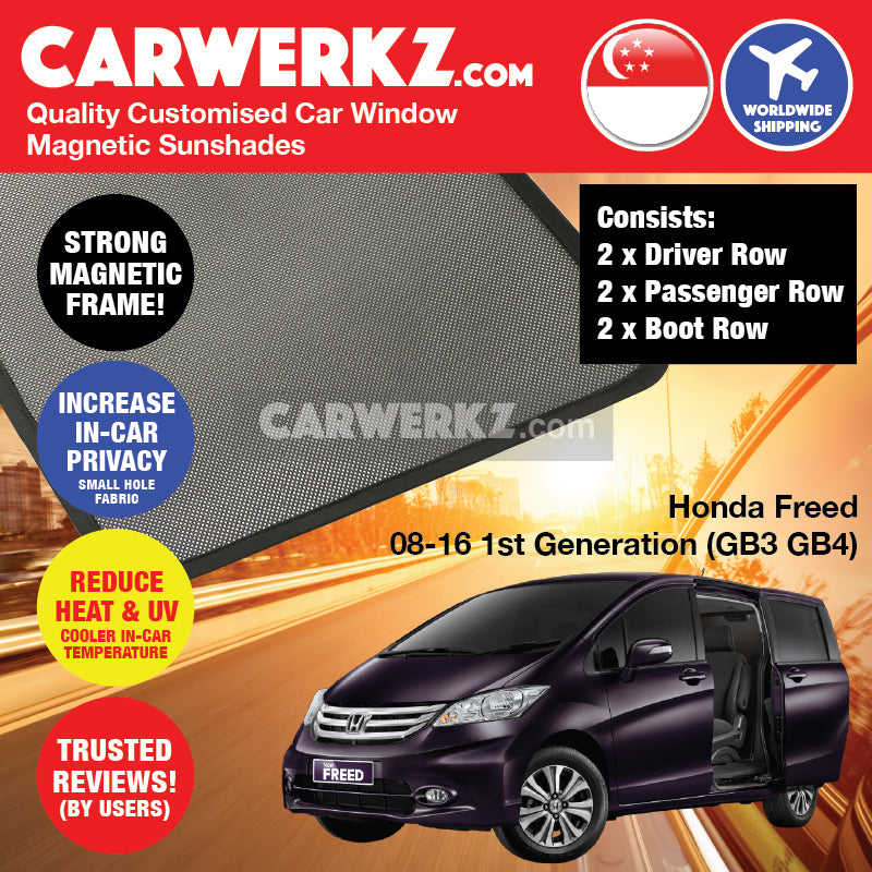 Honda Freed 2008-2016 1st Generation (GB3 GB4) Japan MPV Customised Car Window Magnetic Sunshades - CarWerkz