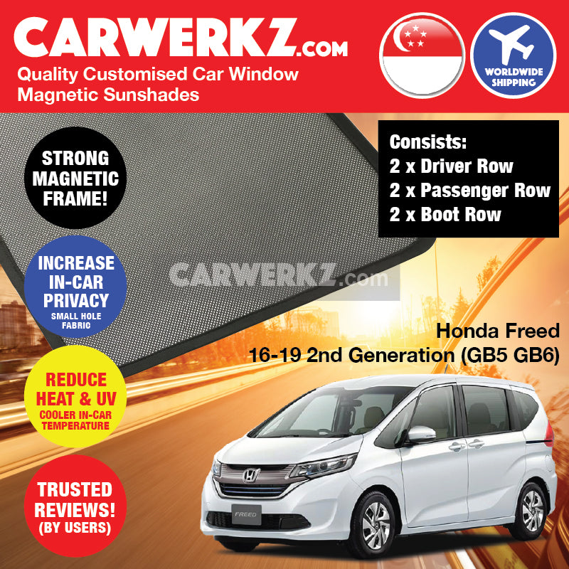 Honda Freed 2016-2019 2nd Generation (GB5 GB6) Japan Compact MPV Customised Car Window Magnetic Sunshades 6 Pieces - CarWerkz