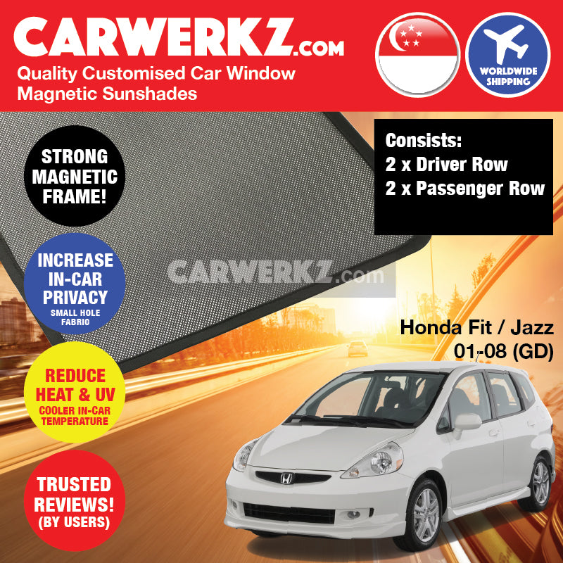 Honda Fit Jazz 2001-2008 1st Generation (GD) Japan Hatchback Customised Car Window Magnetic Sunshades - CarWerkz