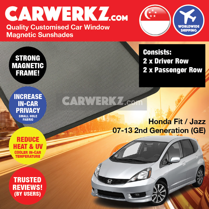 Honda Fit Jazz 2007-2013 2nd Generation (GE) Japan Hatchback Customised Car Window Magnetic Sunshades 4 Pieces - CarWerkz