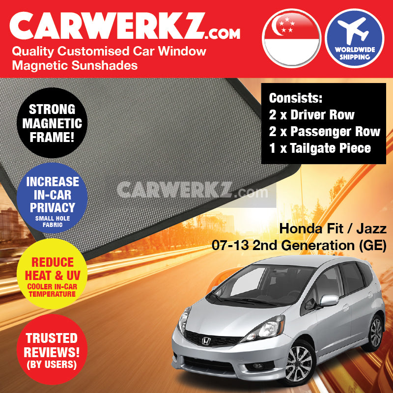 Honda Fit Jazz 2007-2013 2nd Generation (GE) Japan Hatchback Customised Car Window Magnetic Sunshades 4 Pieces + Tailgate 1 Piece FULL SET - CarWerkz