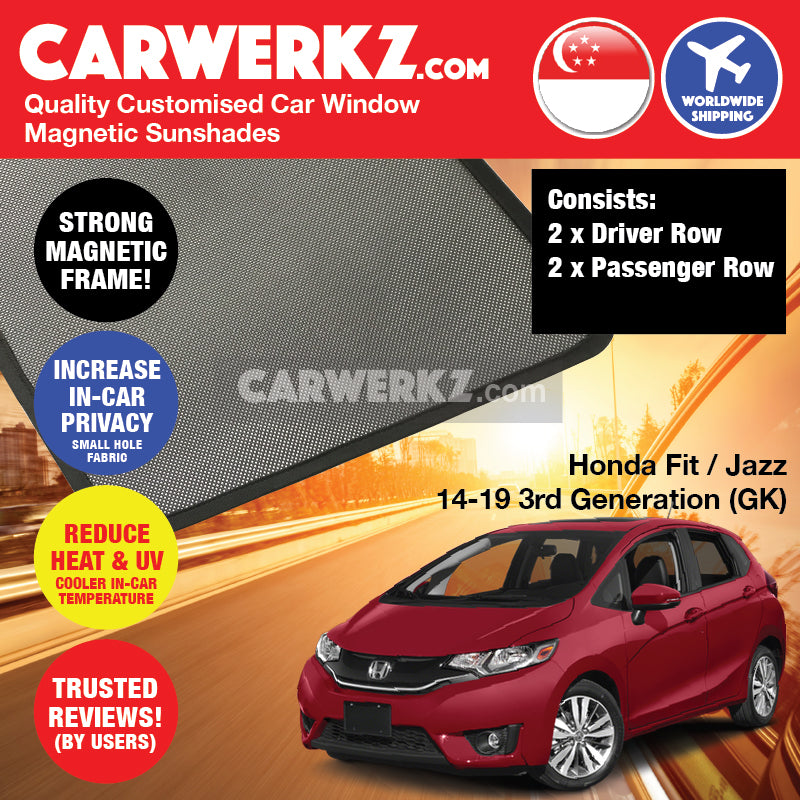 Honda Fit Jazz 2014-2019 3rd Generation (GK) Japan Hatchback Customised Car Window Magnetic Sunshades 4 Pieces - CarWerkz
