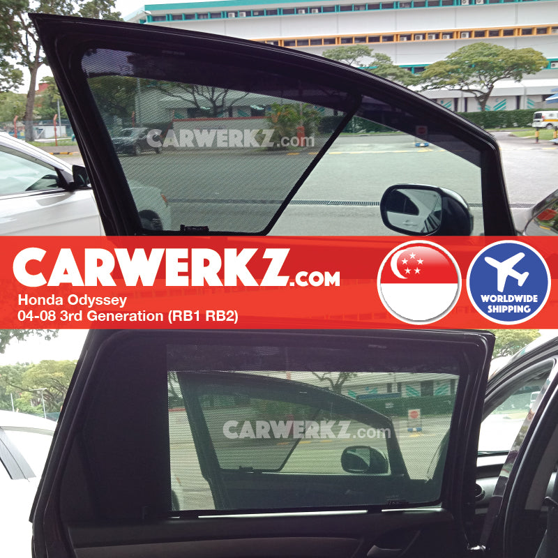 Honda Odyssey 2004-2008 3rd Generation (RB1 RB2) Japan MPV Customised Car Window Magnetic Sunshades 6 Pieces - CarWerkz