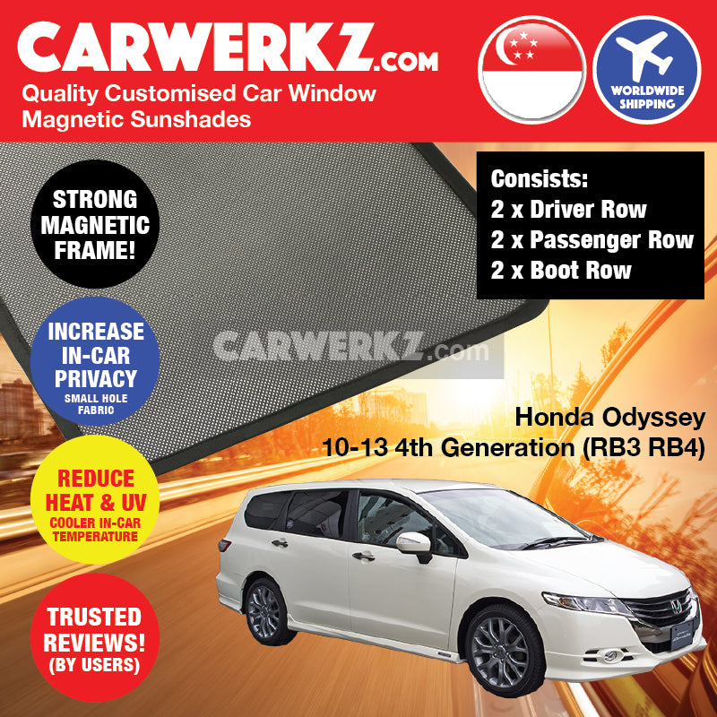 Honda Odyssey 2010-2013 4th Generation (RB3 RB4) Japan MPV Customised Car Window Magnetic Sunshades 6 Pieces - CarWerkz