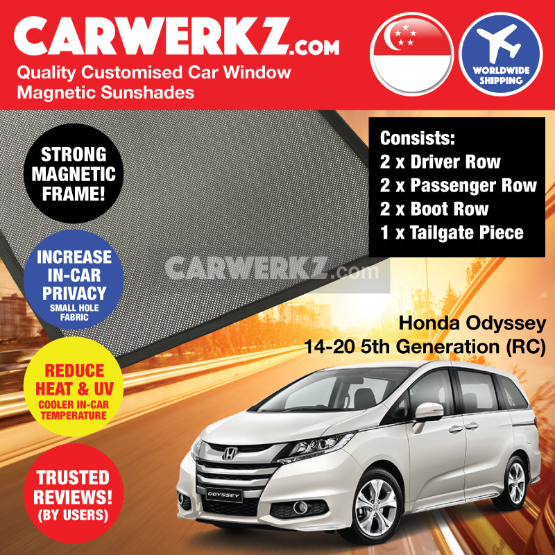 Honda Odyssey 2013-2020 5th Generation (RC) Japan MPV Customised Car Window Magnetic Sunshades - CarWerkz
