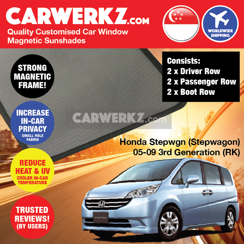 Honda Stepwgn Stepwagon 2005-2009 (RK) Customised Japan Mid Size MPV Window Magnetic Sunshades 6 Pieces - CarWerkz