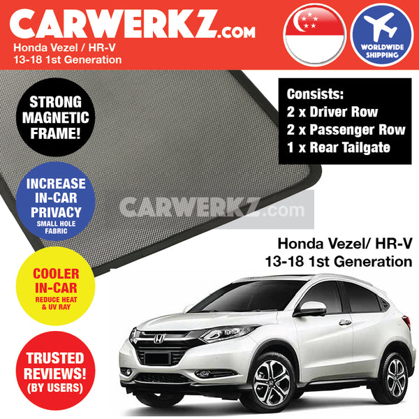 Honda Vezel HR-V SUN Sport Utility Vehicles 2013 2014 2015 2016 2017 2018 1st Generation Customised Magnetic Sunshades 4 Pieces + 1 Rear Tailgate Piece
