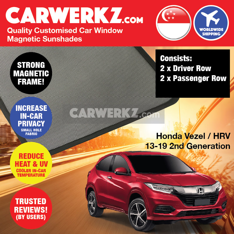 Honda Vezel HRV Petrol Hybrid 2013-2019 2nd Generation Japan Subcompact Crossover Customised Car Window Magnetic Sunshades 4 Pieces + Tailgate Sunshade 1 Piece - CarWerkz