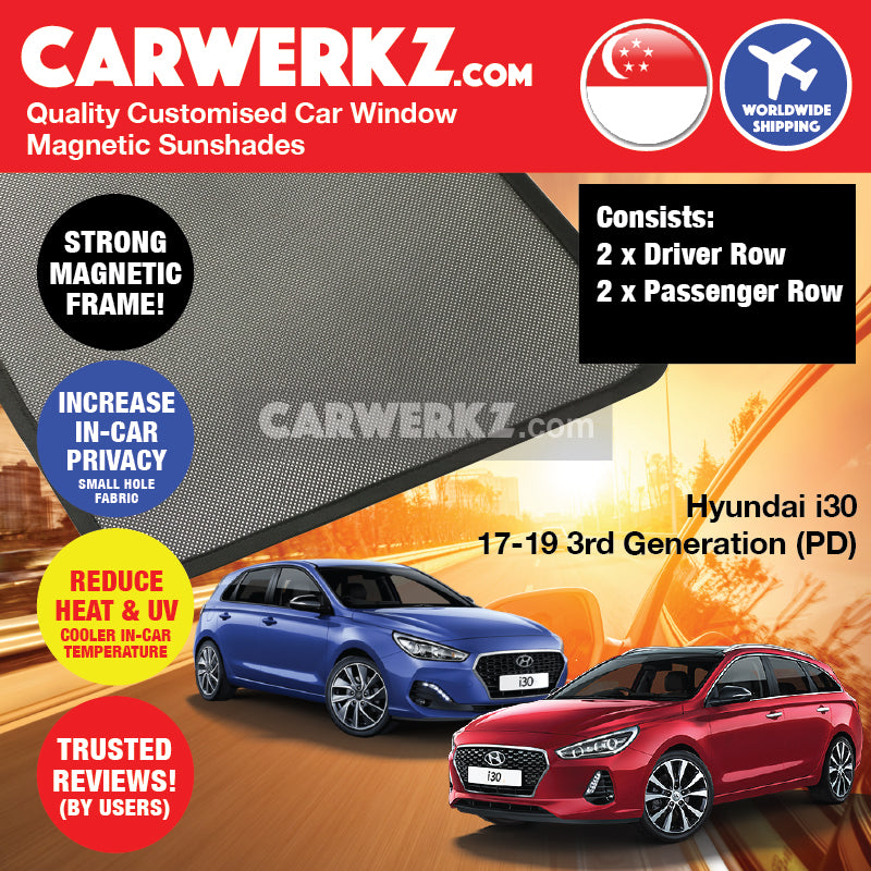 Hyundai i30 Hatchback Stationwagon 2017-2020 3rd Generation (PD) Korean Car Customised Magnetic Sunshades