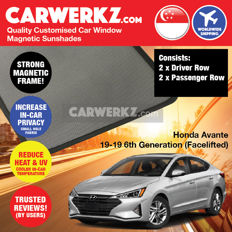 Hyundai Avante Elantra 2019-2019 6th Generation (Facelift) Korean Sedan Car Customised Magnetic Sunshades 4 Pieces - CarWerkz