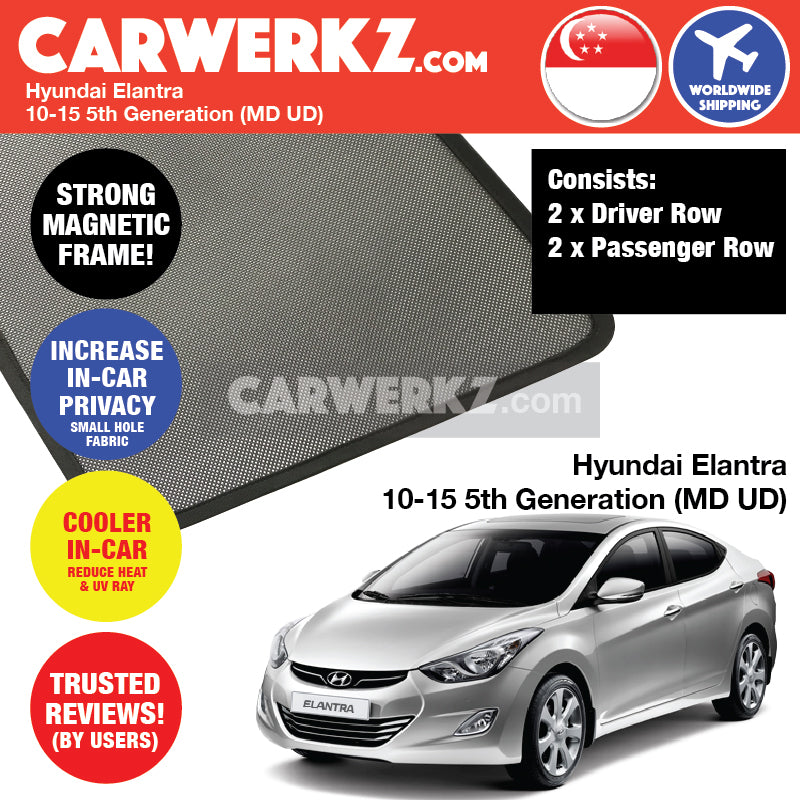 Hyundai Elantra 2010-2015 5th Generation (MD UD) Customised Car Window Magnetic Sunshades 4 Pieces - CarWerkz