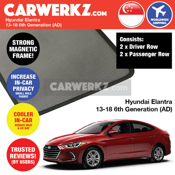 Hyundai Elantra Sedan Car Accessories 2013 2014 2015 2016 2017 2018 6th Generation AD Customised Car Window Magnetic Sunshades