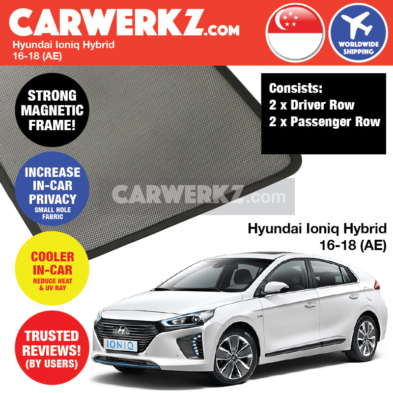 Hyundai Ioniq Hybrid 2016-2018 (AE) Customised Car Window Magnetic Sunshades 4 Pieces - CarWerkz