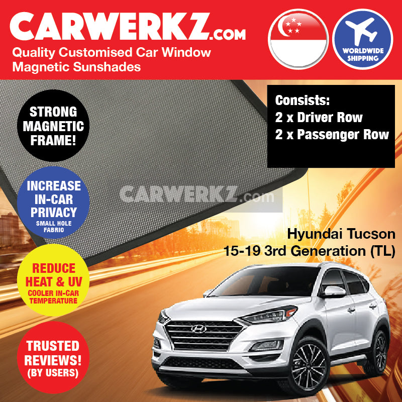 Hyundai Tucson 2015 2016 2017 2018 2019 3rd Generation (TL) Korea SUV Customised Car Window Magnetic Sunshades 4 Pieces - carwerkz singapore australia malaysia