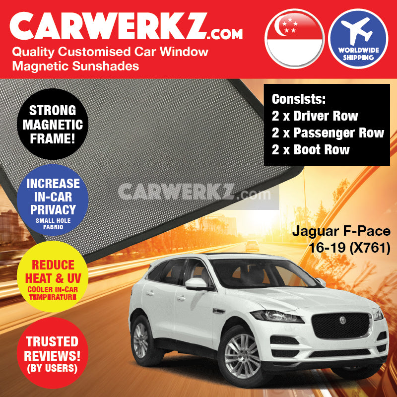 Jaguar F-Pace 2016-2020 (X761) Customised United Kingdom Luxury Compact Crossover SUV Magnetic Sunshade - CarWerkz