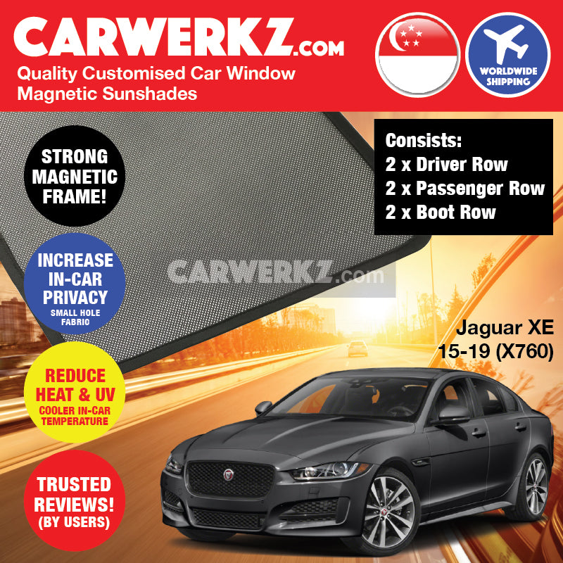 Jaguar XE 2015-2019 (X760) Customised United Kingdom Luxury Sedan Car Magnetic Sunshade 6 pieces - CarWerkz
