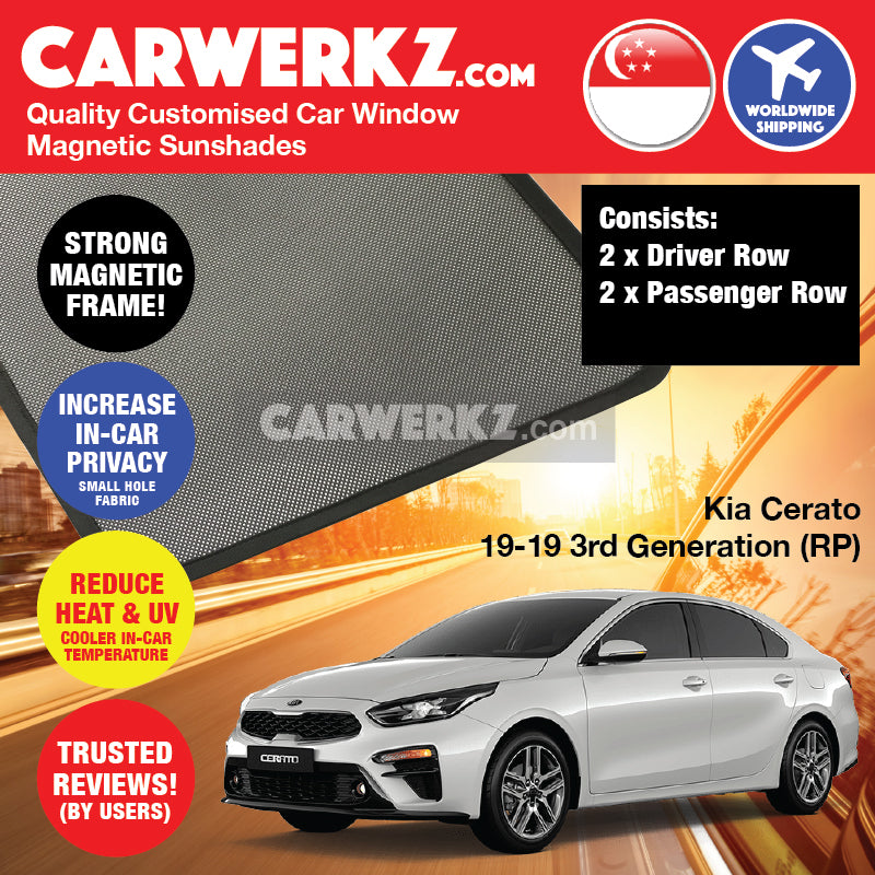 Kia Cerato Forte 2019-2020 3rd Generation (BD) Korea Sedan Customised Car Window Magnetic Sunshades - CarWerkz