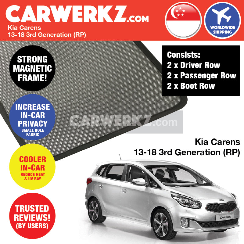 Kia Carens 2013-2017 3rd Generation (RP) Magnetic Sunshades - CarWerkz
