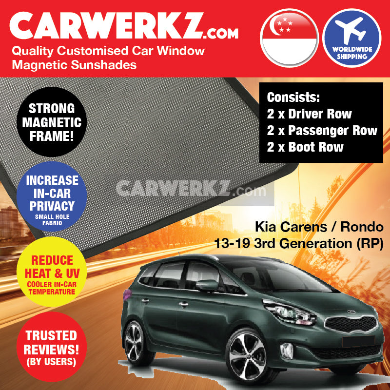 Kia Carens Rondo 2013-2020 3rd Generation (RP) Korean Hatchback Customised Car Window Magnetic Sunshades - CarWerkz