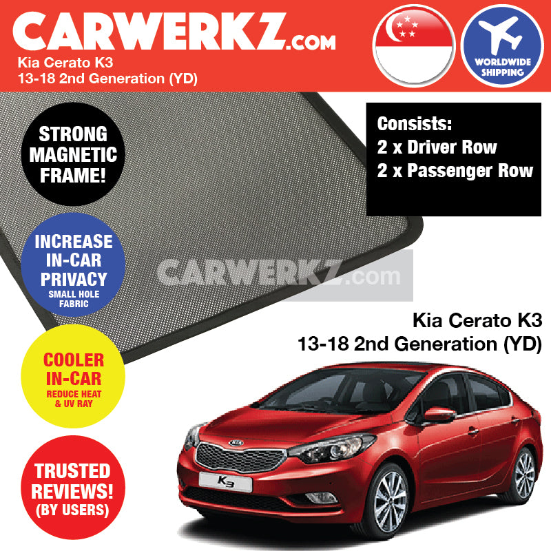 Kia Cerato K3 2014-2018 2nd Generation (YD) Korea Sedan Customised Car Window Magnetic Sunshades 4 Pieces - CarWerkz