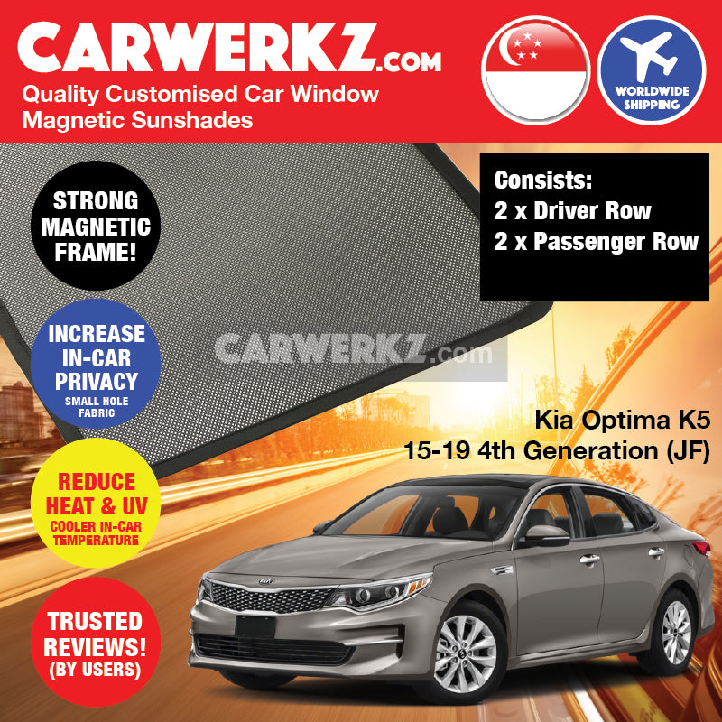 Kia Optima K5 2015-2019 4th Generation (JF) Korea Sedan Customised Car Window Magnetic Sunshades - CarWerkz