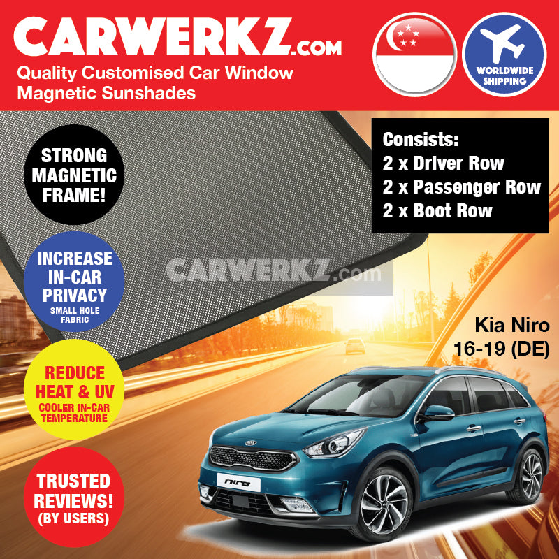 Kia Niro 2016-2019 1st Generation (DE) Korea Hybrid Subcompact Crossover Customised Car Window Magnetic Sunshades - CarWerkz