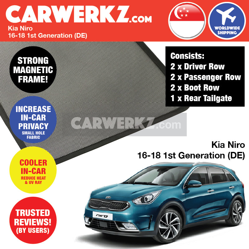 Kia Niro 2016-2020 1st Generation (DE/ MY) Korea Hybrid Subcompact Crossover Customised Car Window Magnetic Sunshades - CarWerkz