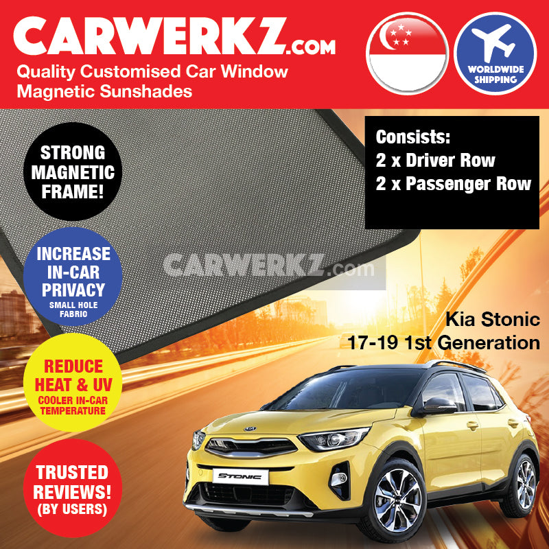 Kia Stonic KX1 2017-2019 1st Generation Korea Subcompact Crossover SUV Customised Car Window Magnetic Sunshades 4 Pieces - CarWerkz