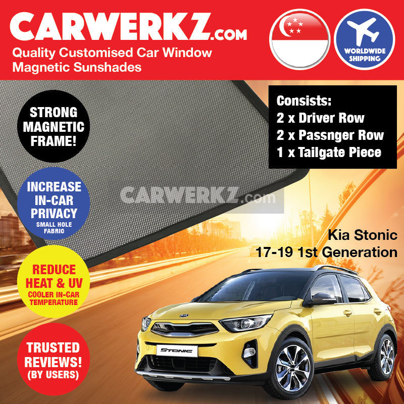 Kia Stonic KX1 2017-2019 1st Generation Korea Subcompact Crossover SUV Customised Car Window Magnetic Sunshades 4 Pieces + 1 Piece Tailgate - CarWerkz